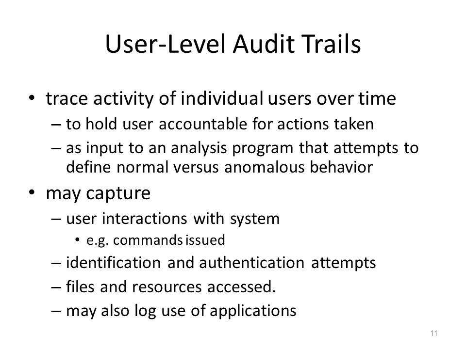User-Level Audit Trails