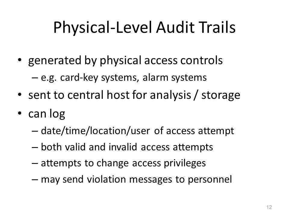Physical-Level Audit Trails