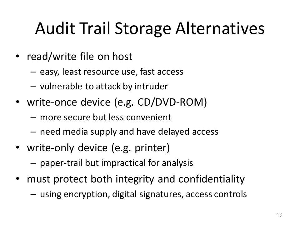 Audit Trail Storage Alternatives
