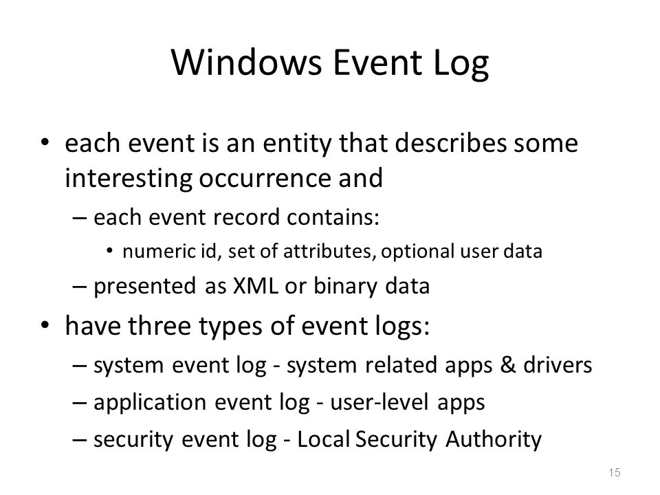Windows Event Log each event is an entity that describes some interesting occurrence and. each event record contains: