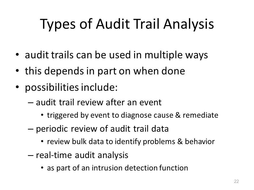 Types of Audit Trail Analysis