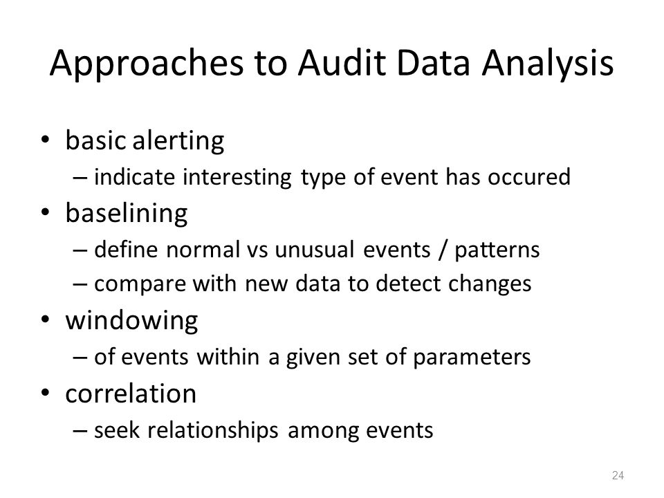 Approaches to Audit Data Analysis