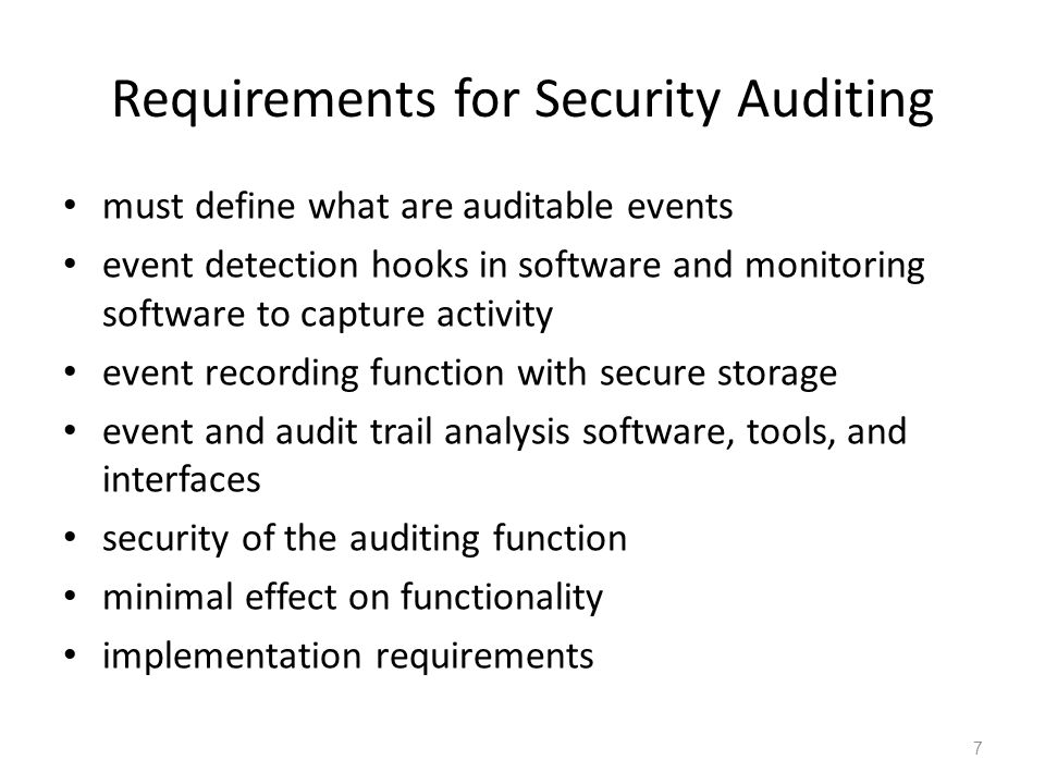 Requirements for Security Auditing