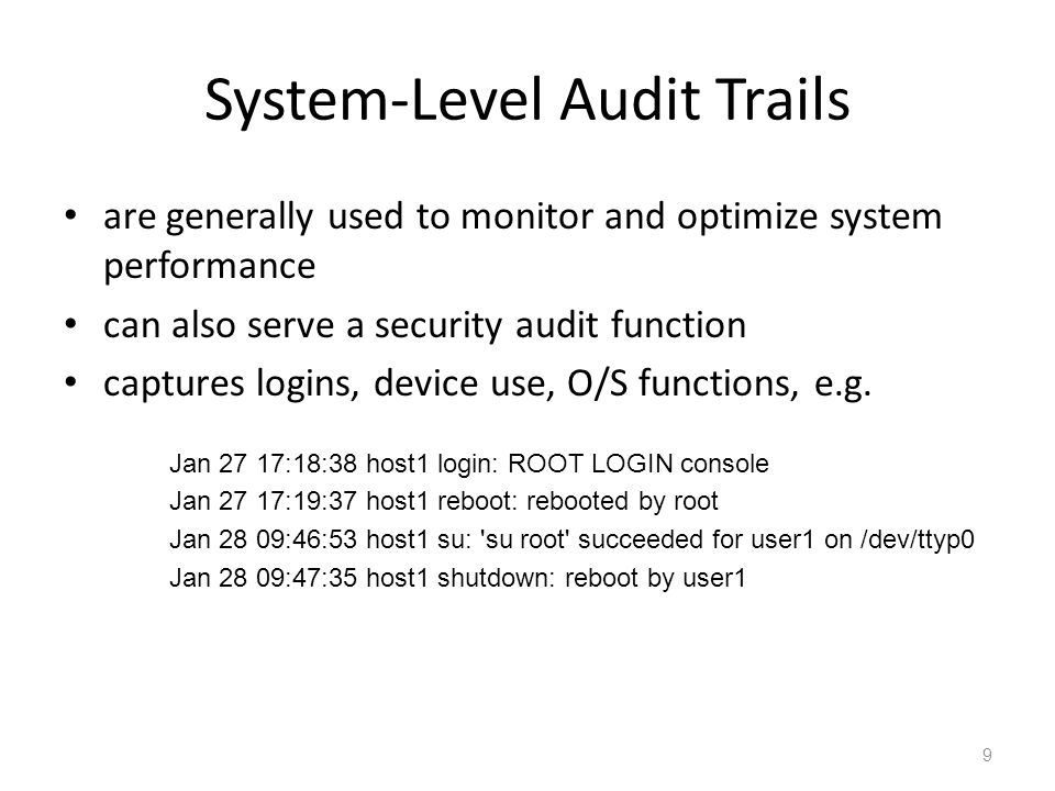 System-Level Audit Trails