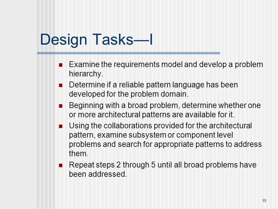 Design Tasks—I Examine the requirements model and develop a problem hierarchy.