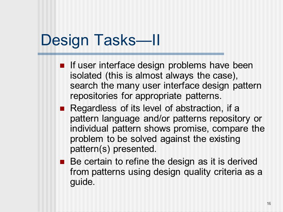 Design Tasks—II