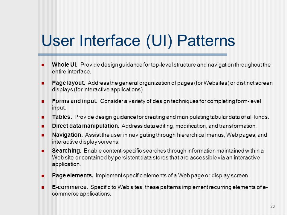 User Interface (UI) Patterns