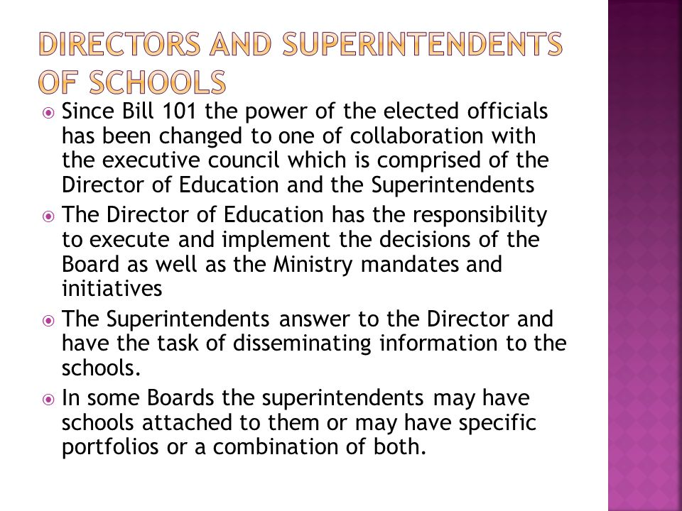 Directors and Superintendents of schools