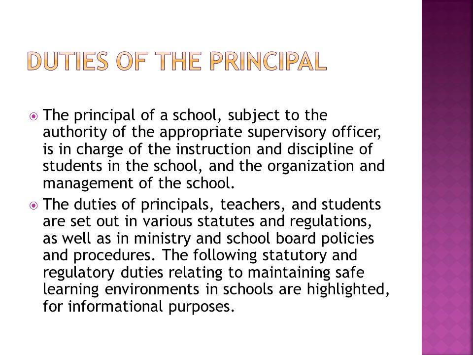 Duties of the Principal