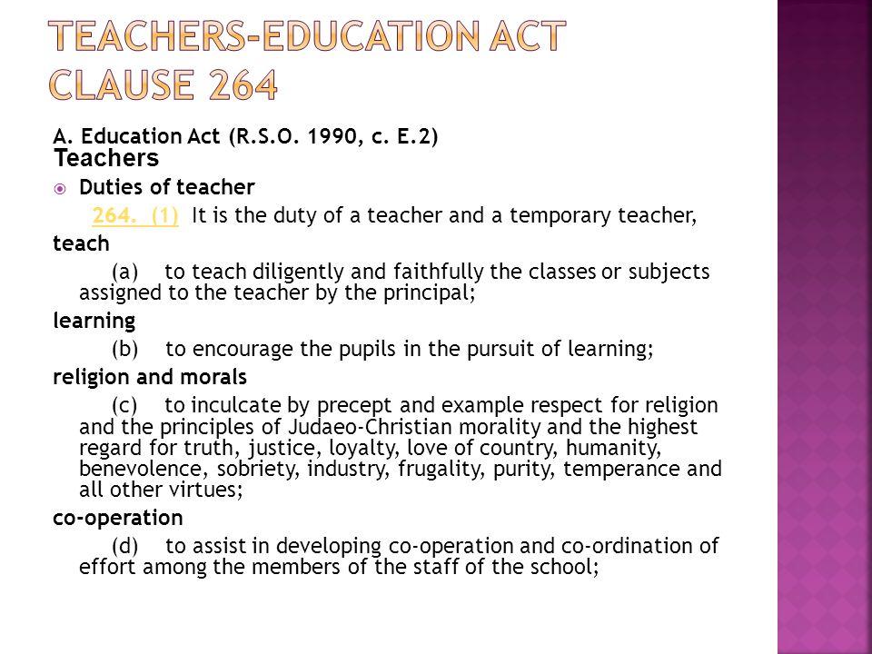 Teachers-Education act Clause 264