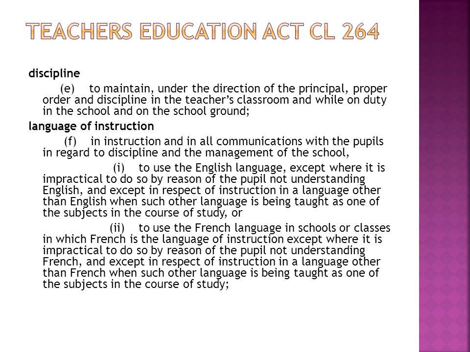 Teachers Education Act cl 264