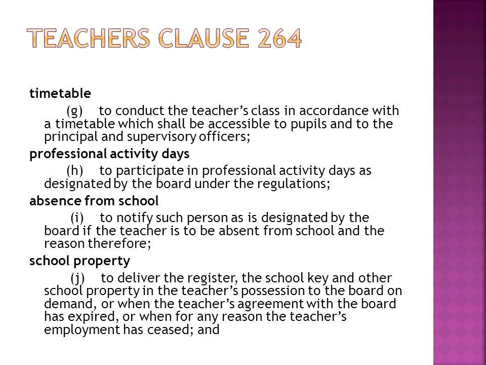 Teachers clause 264