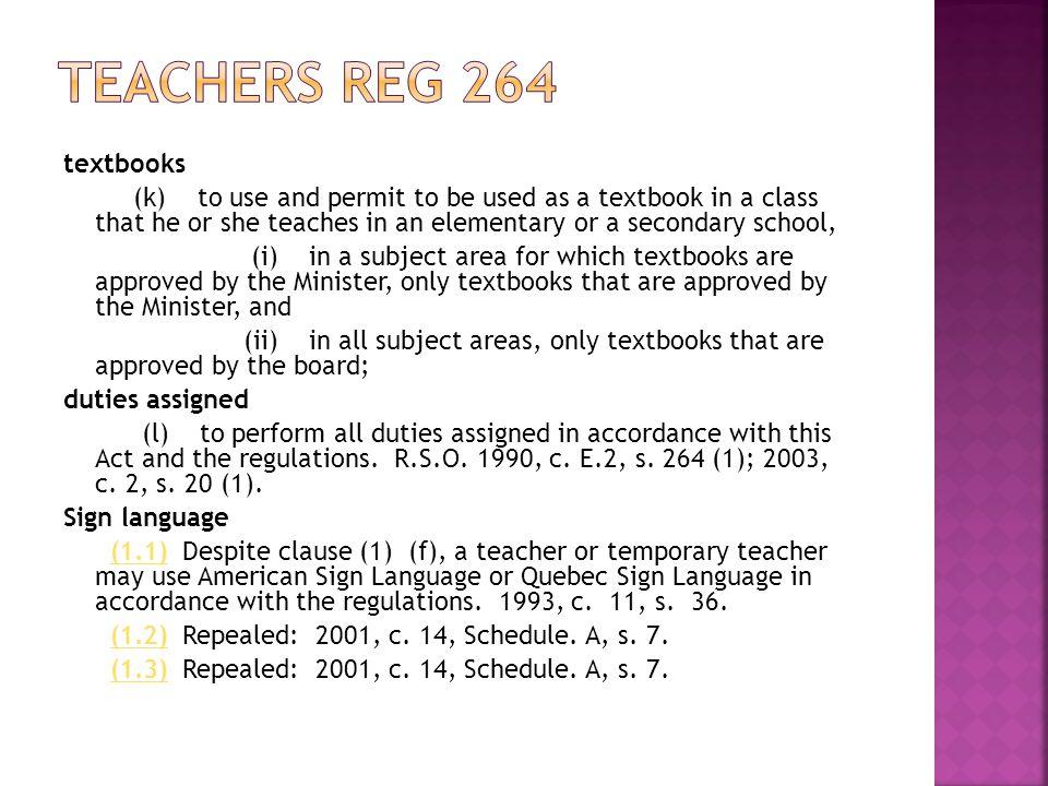Teachers reg 264 textbooks