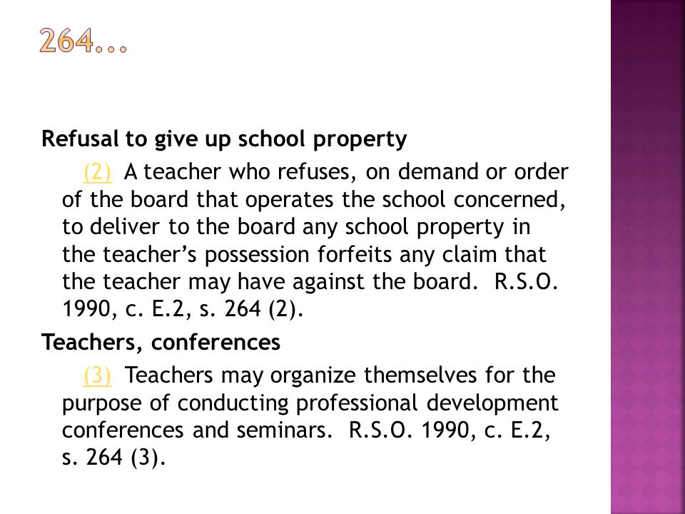264... Refusal to give up school property