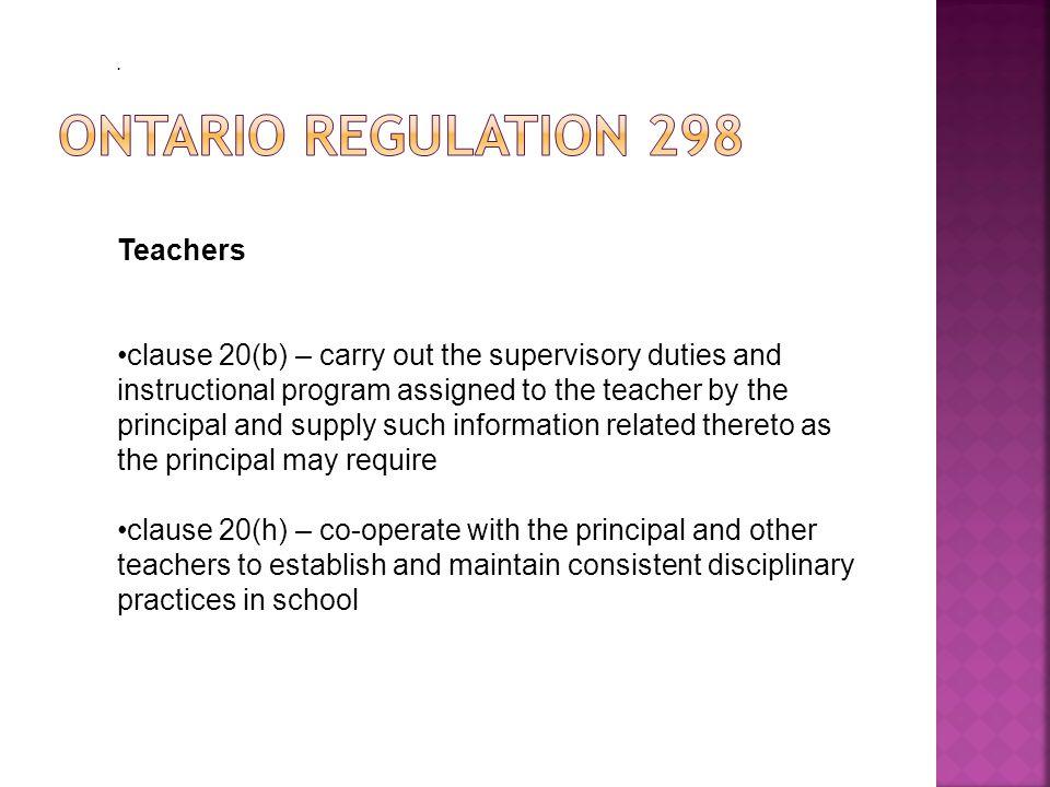 Ontario Regulation 298 Teachers