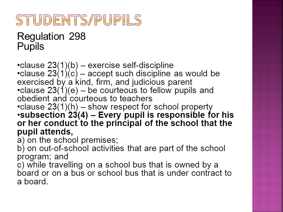Students/Pupils Regulation 298 Pupils