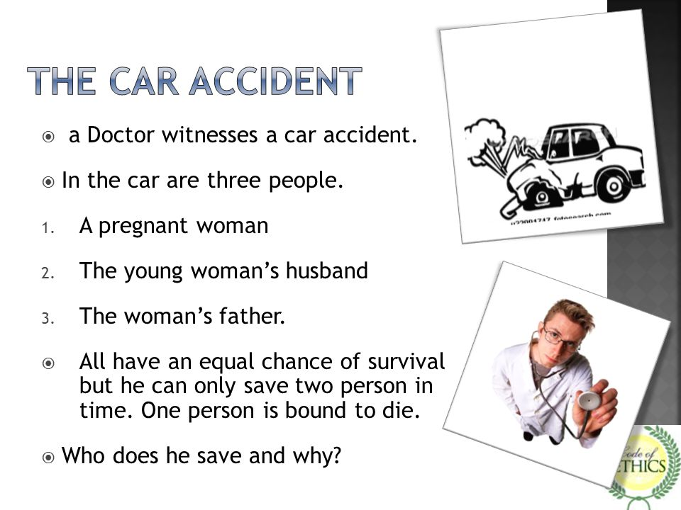 The car accident a Doctor witnesses a car accident.
