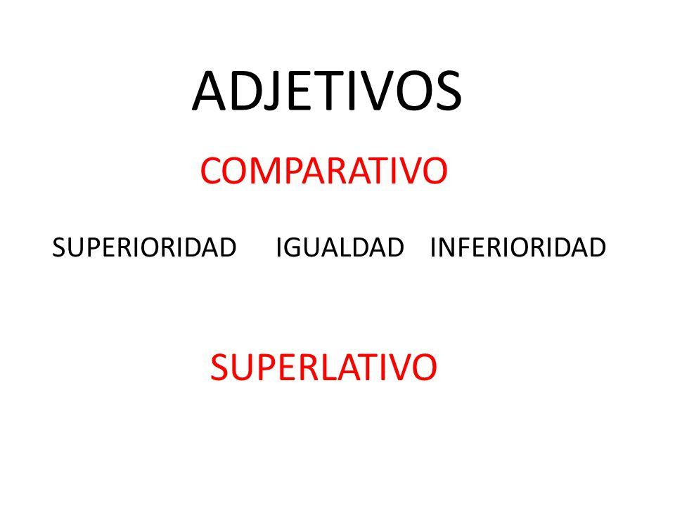 ADJETIVOS COMPARATIVO SUPERIORIDAD IGUALDAD INFERIORIDAD SUPERLATIVO