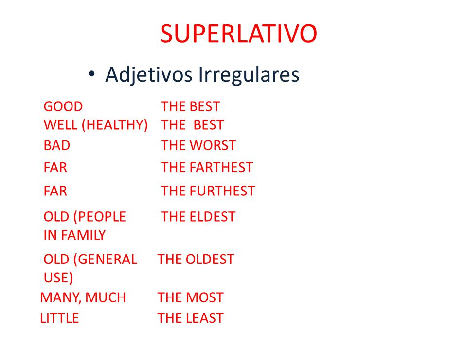 SUPERLATIVO Adjetivos Irregulares GOOD THE BEST WELL (HEALTHY)