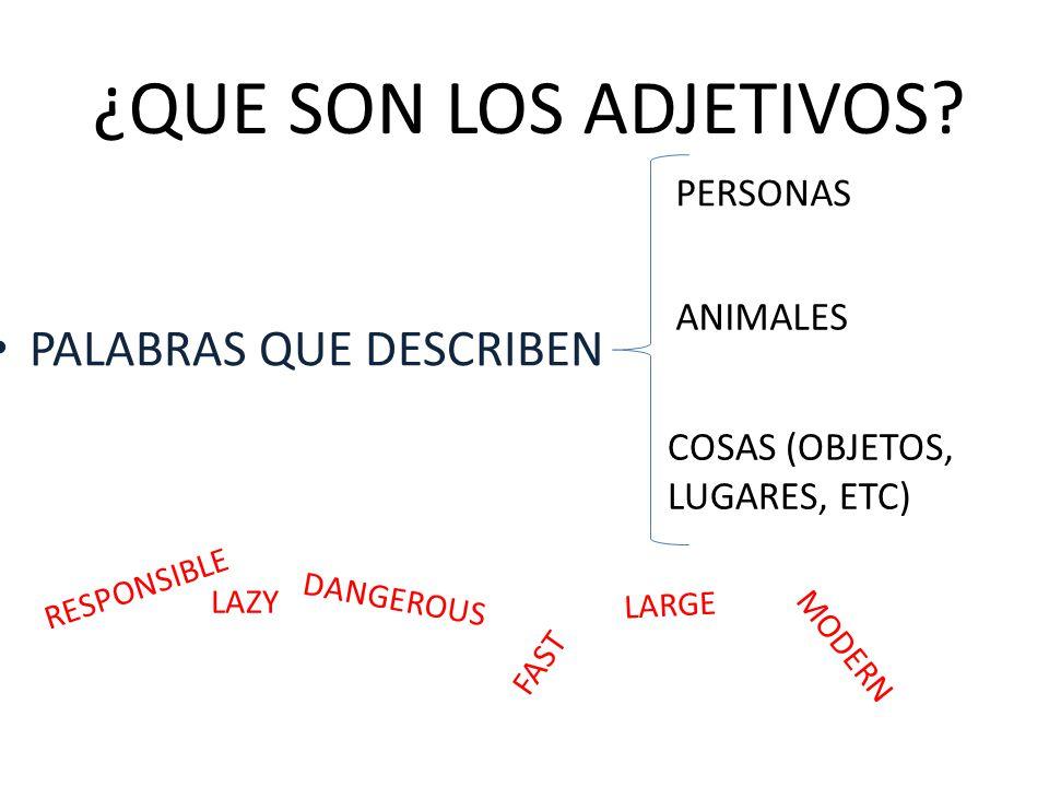 ¿QUE SON LOS ADJETIVOS PALABRAS QUE DESCRIBEN PERSONAS ANIMALES