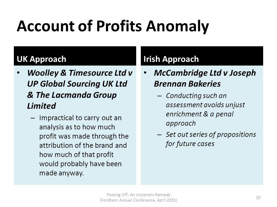 Account of Profits Anomaly
