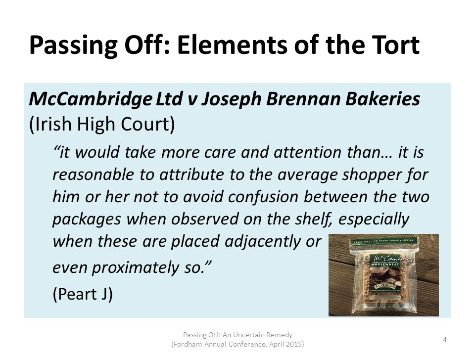 Passing Off: Elements of the Tort