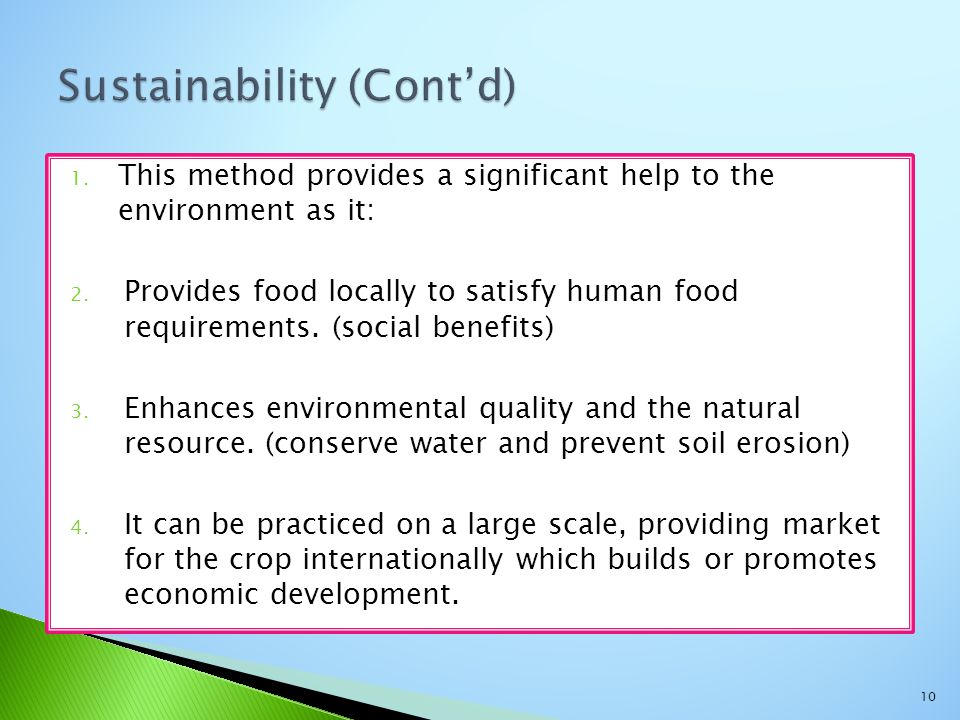 Sustainability (Cont'd)