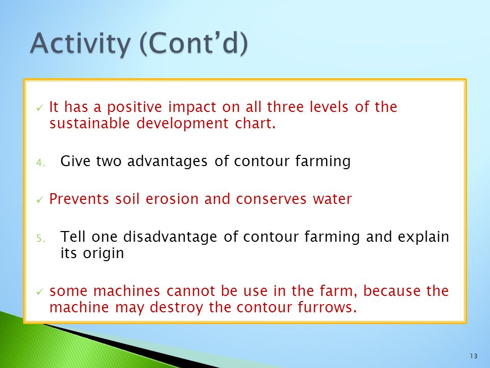 Activity (Cont'd) It has a positive impact on all three levels of the sustainable development chart.