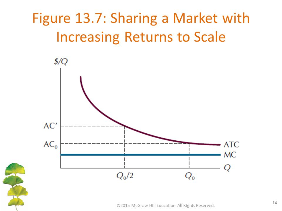 Figure 13.7: Sharing a Market with Increasing Returns to Scale