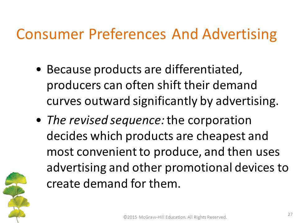 Consumer Preferences And Advertising