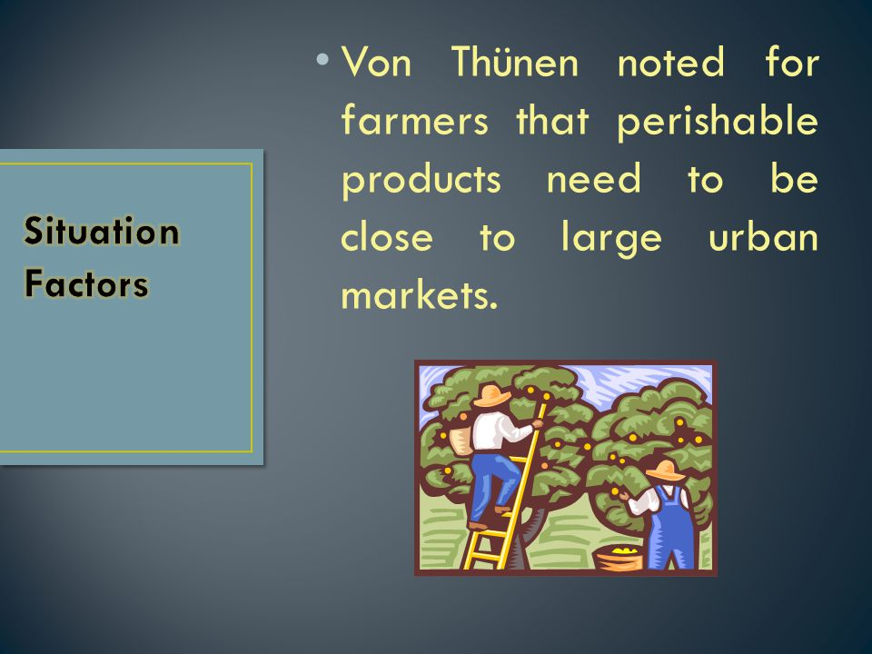Von Thünen noted for farmers that perishable products need to be close to large urban markets.