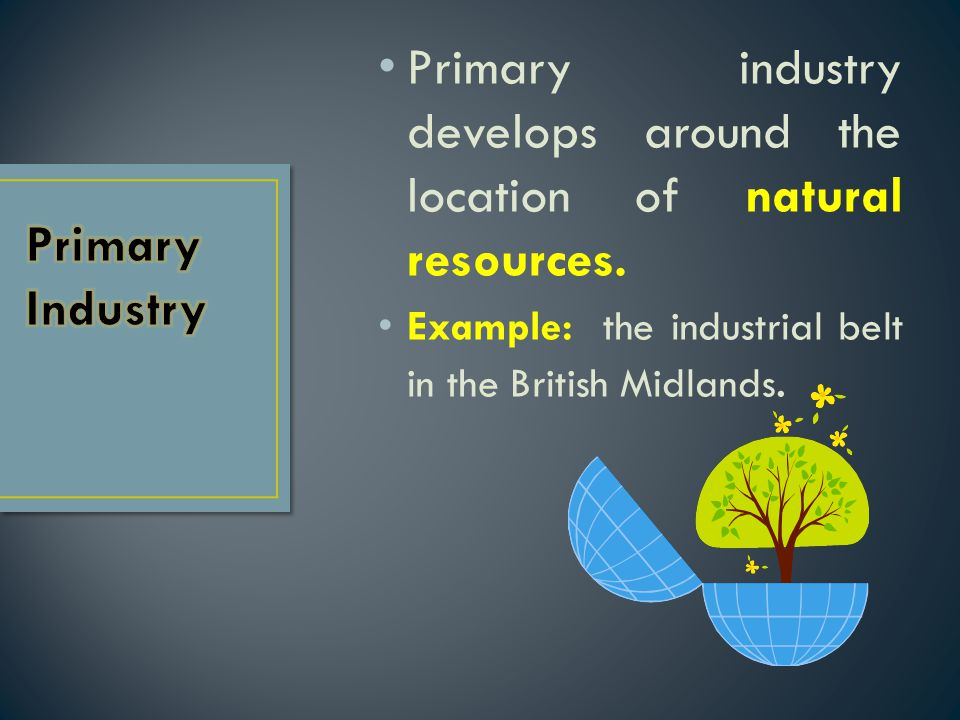 Primary industry develops around the location of natural resources.