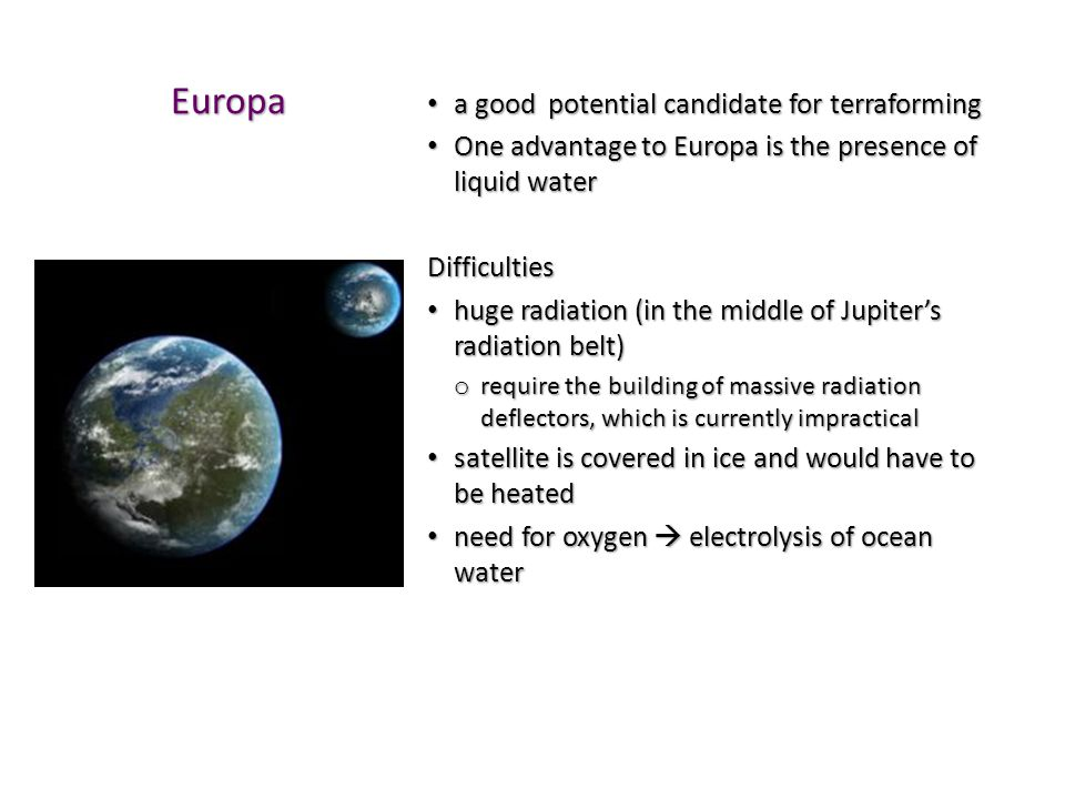 Europa a good potential candidate for terraforming