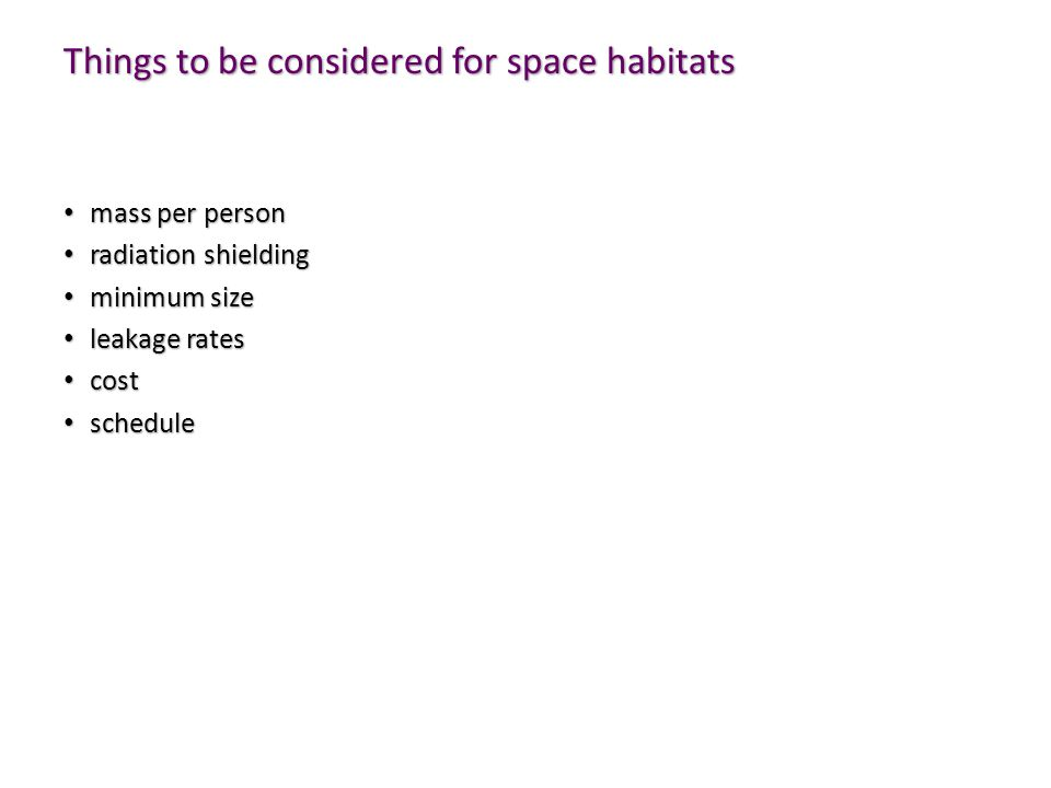 Things to be considered for space habitats
