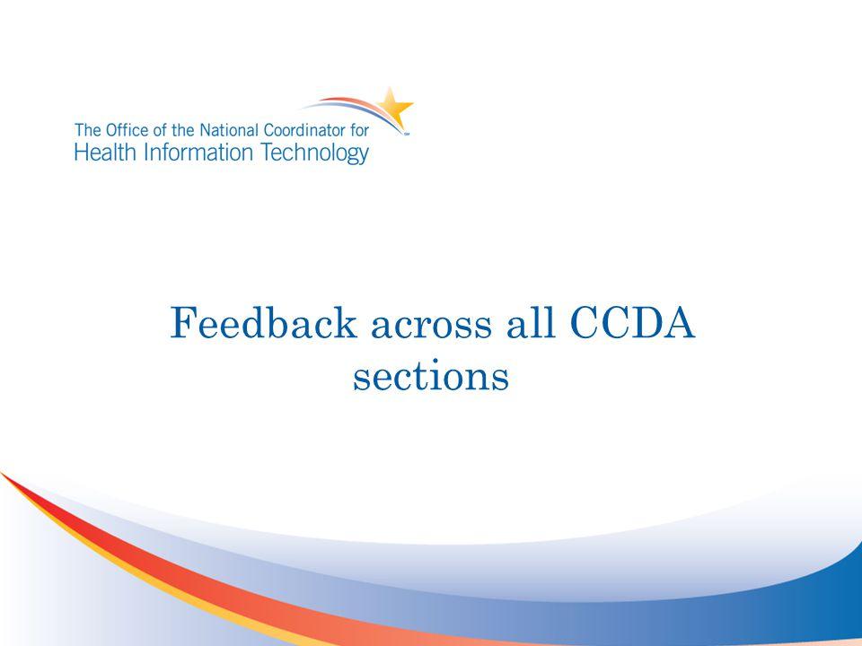 Feedback across all CCDA sections