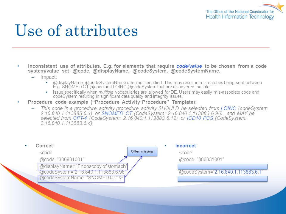 Use of attributes