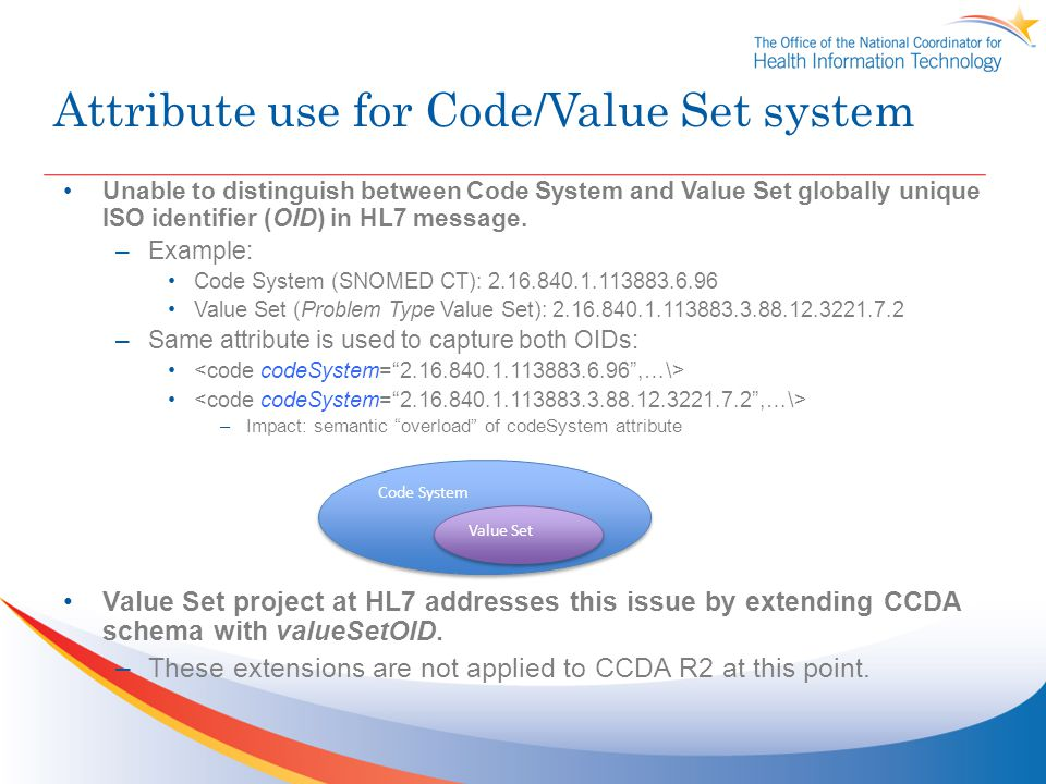 Attribute use for Code/Value Set system