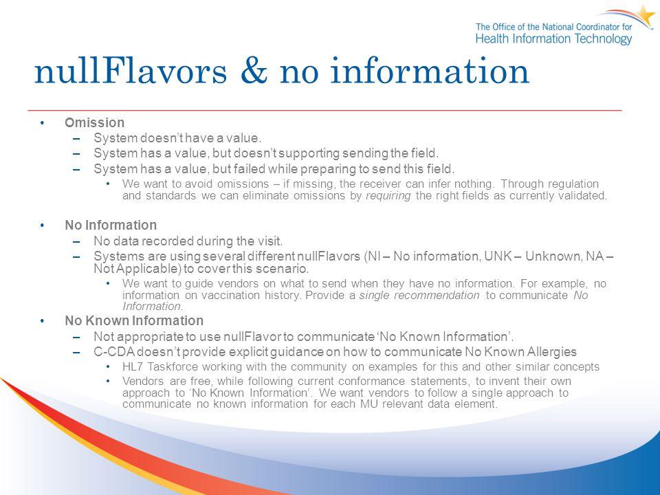 nullFlavors & no information