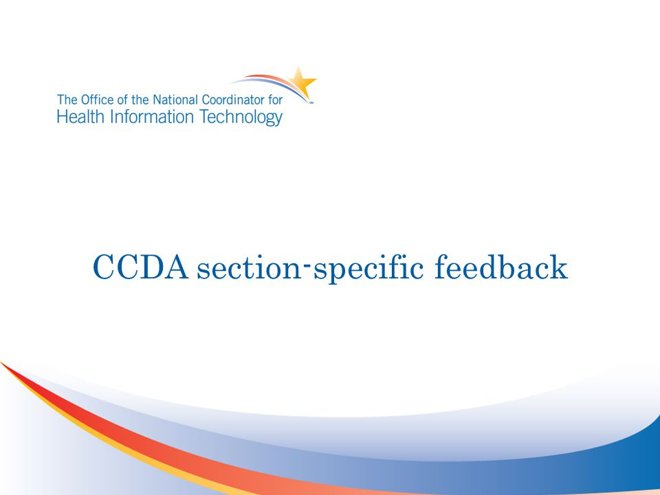 CCDA section-specific feedback
