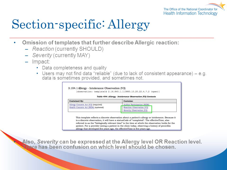 Section-specific: Allergy