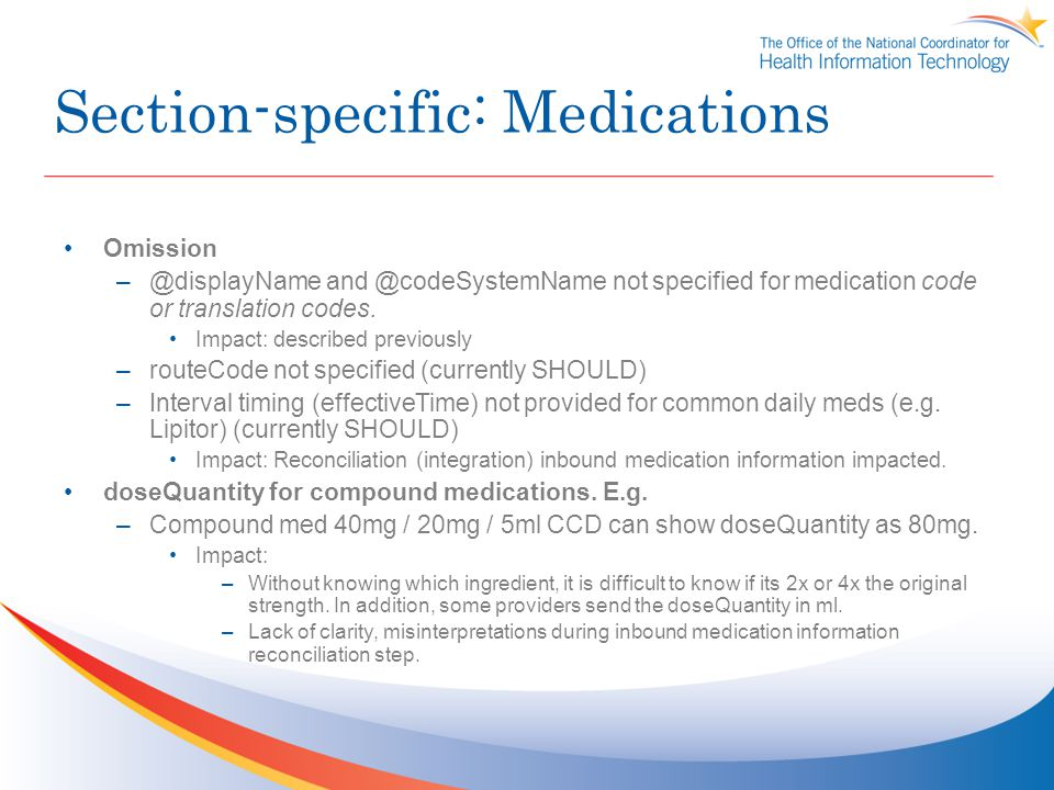 Section-specific: Medications