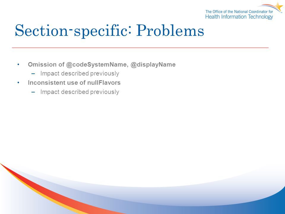 Section-specific: Problems