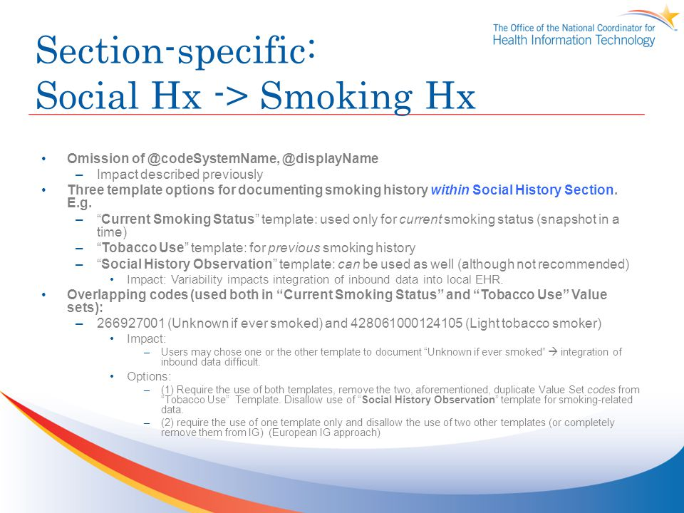 Section-specific: Social Hx -> Smoking Hx