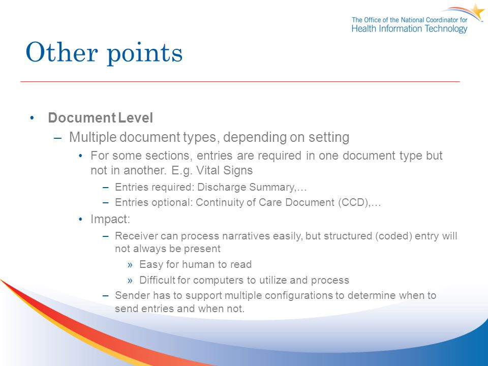 Other points Document Level