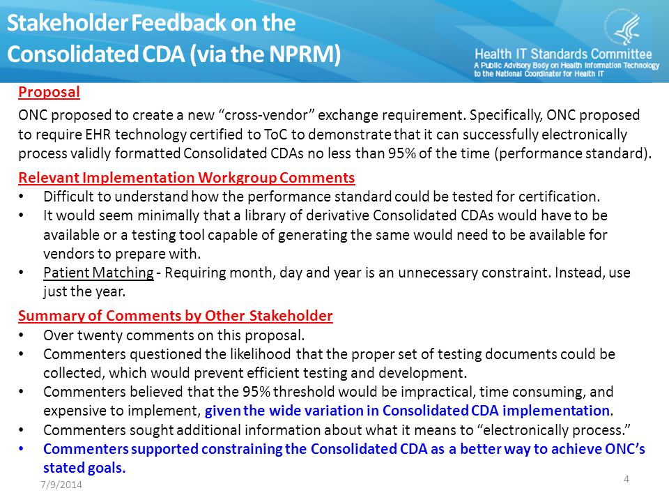 Stakeholder Feedback on the Consolidated CDA (via the NPRM)