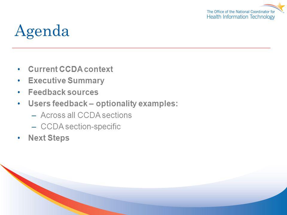 Agenda Current CCDA context Executive Summary Feedback sources