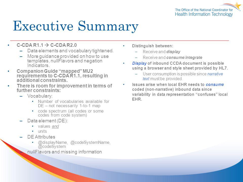 Executive Summary C-CDA R1.1  C-CDA R2.0
