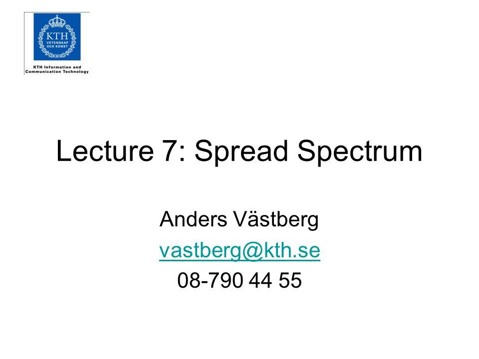 Lecture 7: Spread Spectrum