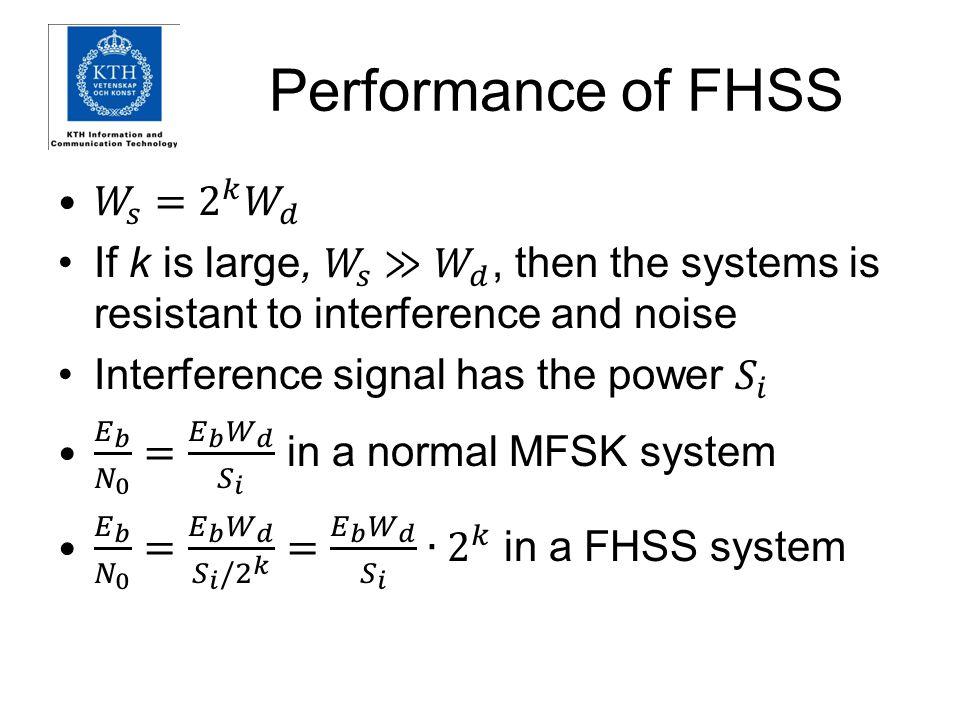 Performance of FHSS 𝑊 𝑠 = 2 𝑘 𝑊 𝑑