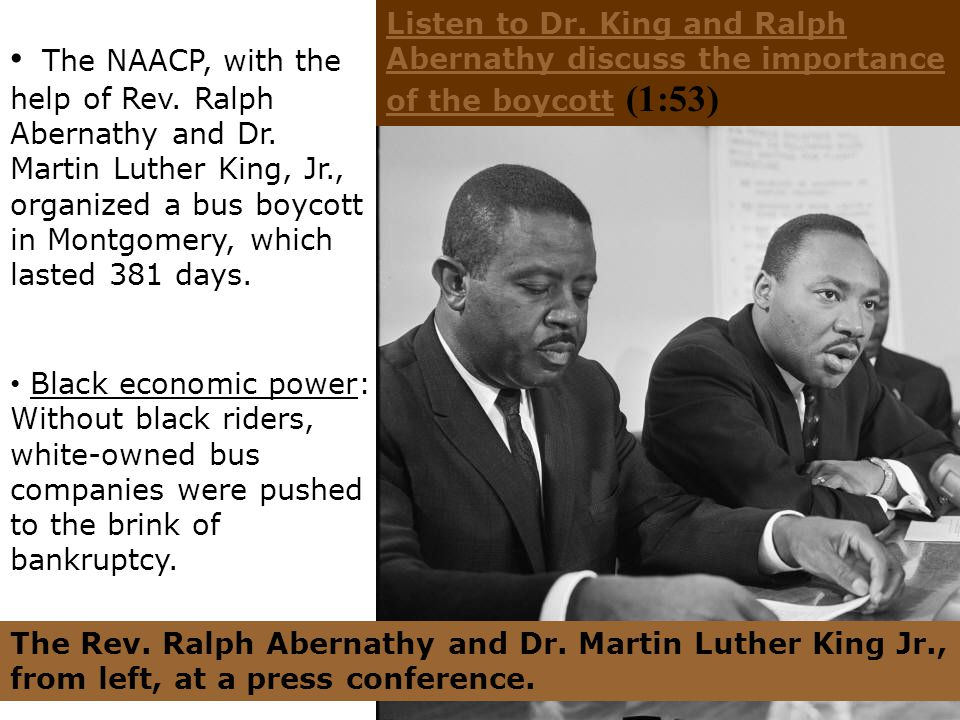 Listen to Dr. King and Ralph Abernathy discuss the importance of the boycott (1:53)